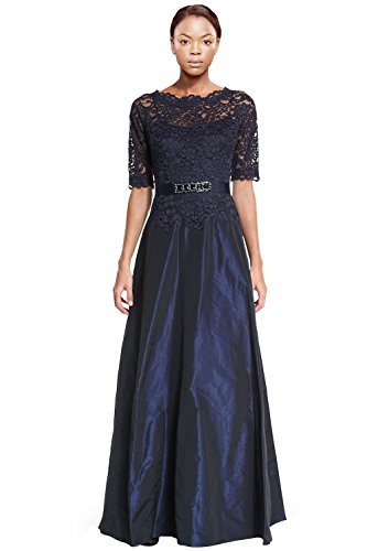 Teri Jon Scalloped Lace Top Taffeta Evening Gown Dress