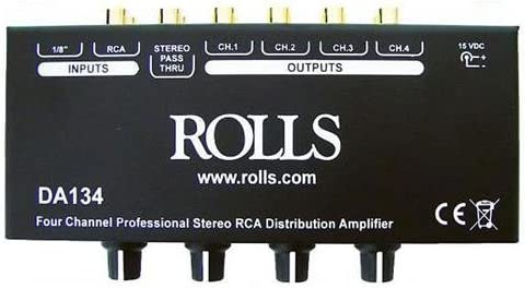 Rolls 4-Channel RCA Distribution Amplifier, 12 dBV Max Input Level, 90 dB S N Ratio