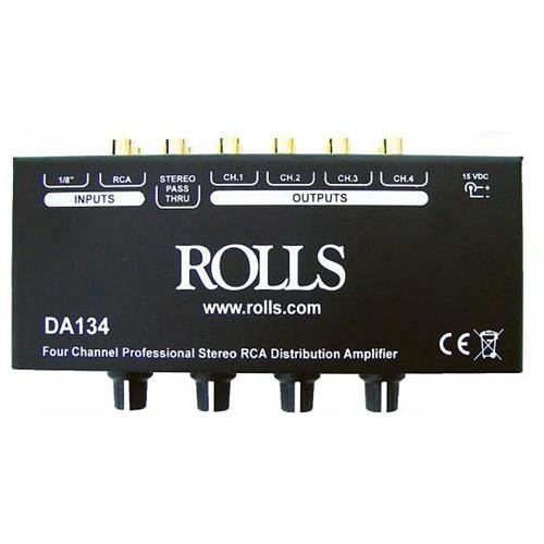 Rolls 4-Channel RCA Distribution Amplifier, +12 dBV Max Input Level, >90 dB S/N Ratio by Rolls