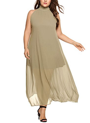 Involand Womens Plus Size High Neck Chiffon Sleeveless Party Maxi Dresses Belted Waist (Sleeveless Chiffon Dress)