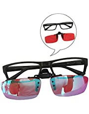 Red-Green Color Blind Glasses Flip Clip Colorblindness Corrective Resin Red Lenses Both Outdoor Indoor Use for Men and Women, Fullframe