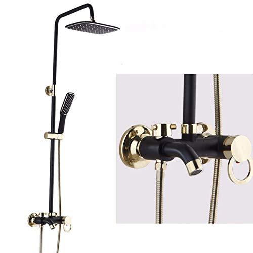 (QPGGP-Shower set Baking Lacquer Sprinkler Suit European Bathroom Stainless Steel Retro Black Gold Shower)