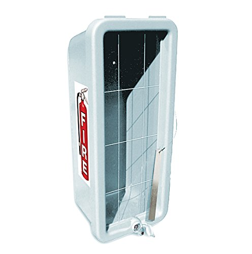 CATO 11001-B White Plastic Chief Fire Extinguisher Cabinet for 10 lb. Extinguisher, with Breaker Bar and Cylinder Lock