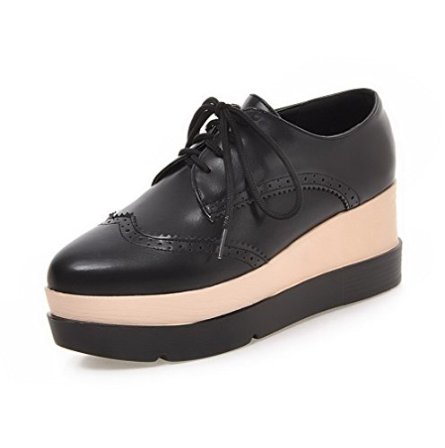 VogueZone009 Women's Soft Material Round Closed Toe High-Heels Lace-up Solid Pumps-Shoes Black ODIaYX