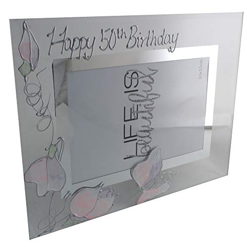 50th Birthday Gift Frame sweet pea (land)