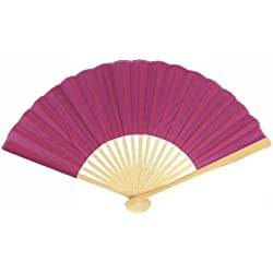 "Quasimoon PaperLanternStore.com 9"" Violet Silk Hand Fans for Weddings (10 Pack)"
