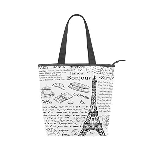 AHOMY Women Handbag Eifel Tower English Alphabet Tote Bag Top Handle PU Leather Shoulder Purse