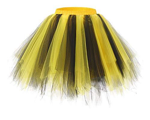 Bridesmay Women's Tutus Tulle Skirt 50s Vintage Petticoat Ballet Bubble Skirts Black-Yellow XL -