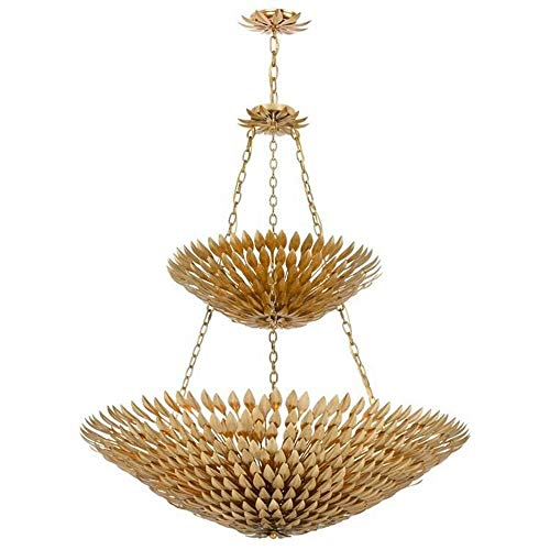 Crystorama 599-GA Leaf, Flower, Fruit 18 Light Pendant Chandelier from Broche collection in Gold, Champ, Gld Leaffinish,