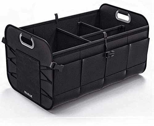 GOOLOO Car Trunk Organizer Auto Cargo Storage Container Multi-compartments Collapsible Durable Box with Straps Minivan Jeep Waterproof Bottom for Truck SUV