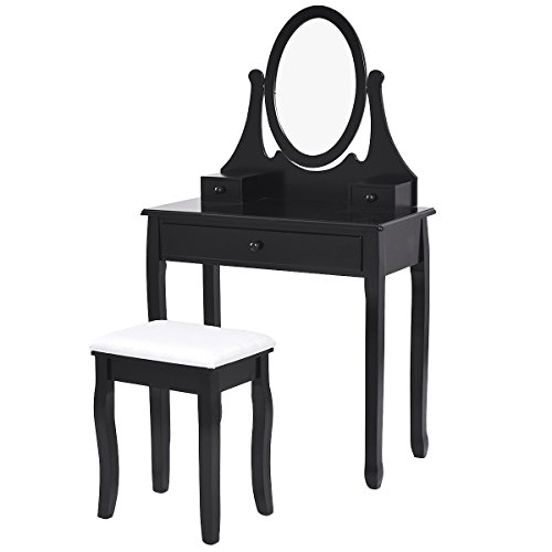 Giantex Vanity Wooden Makeup Dressing Table Stool Set Bedroom with Mirror and 3 Drawer (Black) by Giantex