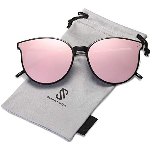 SOJOS Designer Round Sunglasses for Women Oversized Frame with Rivets DOLPHIN SJ2068 with Black Frame/Pink Mirrored Lens