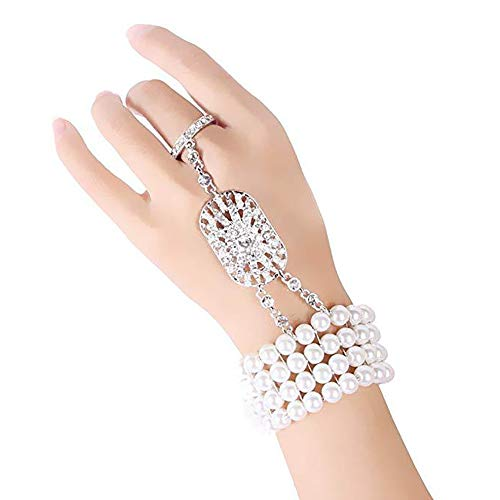 1920s Flapper Bracelet Ring Set Great Gatsby Art Deco Crystal Pearl Jewerly Roaring 20s Costume Accessories (Silver) ()