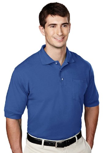 Tri-mountain Mens 60/40 pique pocketed golf shirt. - ROYAL - 3XLT