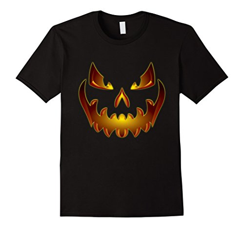Mens Halloween Scary Pumpkin Face Jack-O-Lantern Shirt org 2XL Black