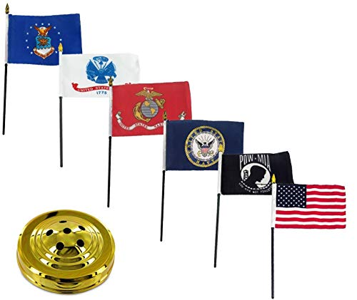- ALBATROS USA Armed Forces Military Pow Mia 6 Flags 4 inch x 6 inch Desk Set Table Stick with Gold Base for Home and Parades, Official Party, All Weather Indoors Outdoors