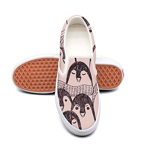 Woman Cartoon Animal Happy Penguin face Canvas Shoes Casual Loafers Shoes Sneaker