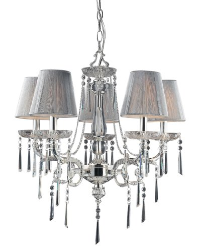 Elk 2396/5 5-Light Chandelier In Polished Silver and Iced Glass