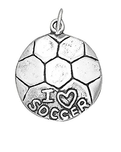 Sterling Silver 24'' Men's 1.5mm Box Chain ''I LOVE SOCCER'' Sports Pendant Necklace by Auntie's Treasures (Image #2)
