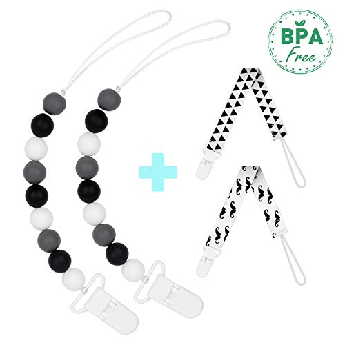 - Pacifier Clip,4 Pack,BPA-Free Silicone Teething Beads Relief Soothie Binky Paci Holder for Boys and Girls,Teether Toys,Birthday,Baby Shower Gift Set