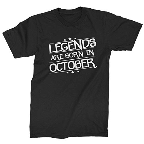 Legends Are Born Mens in October T-Shirt X-Large Black