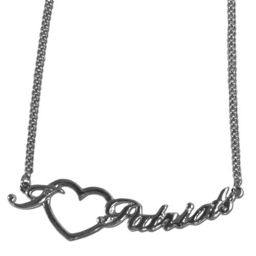 - NFL New England Patriots Heart Script Necklace