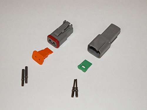 Deutsch DT Series 2 Pin Connector Kit w/Barrel Style Terminals 16-20 ()