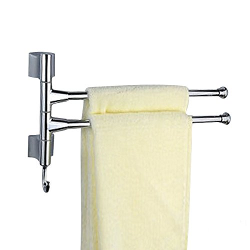 Agile-shop Wall-Mounted Bathroom Kitchen Towel Rack Holder - 2 Swing Arms, Polished Stainless - 12 Hook Shower Inch Arm