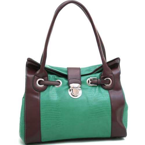 Dasein Women's Belted Matte Croco Leather Like Texture Shoulder Bag w/Buckle Accent -Mint Green/Coffee
