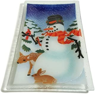product image for Peggy Karr 14-Inch Glass Snowman Tray
