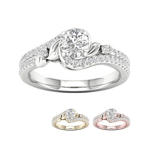 IGI Certified 14k Yellow Gold 3/4Ct TDW Diamond Round Halo Flower Bypass Engagement Ring (I-J,I2)