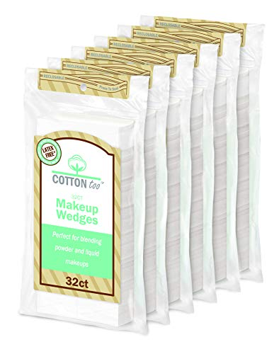 Beauty Wedge - Cotton Too Premium 32 Count Latex-free Cosmetic Wedges, 6 Pack