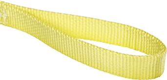 Mazzella EE1 Nylon Web Sling, Eye-and-Eye, Yellow, 1 Ply, Flat Eyes, Vertical Load Capacity