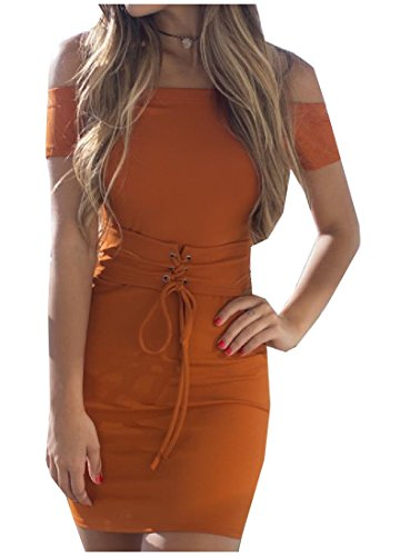 Solid Orange Boat Women's Sexy Coolred Dress Neck Pineapple Bandage wq8nnTxX