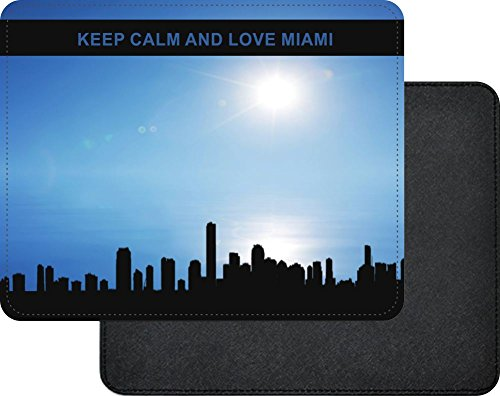 Rikki Knight Keep Calm and Love Miami Premium Quality Faux Leather Mouse Pad Miami Faux Leather