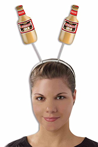 Bottle Of Alcohol Costume (Forum Novelties 21st Birthday Legally 21 Beer Bottle Head Boppers Headband)