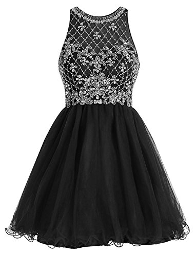 omen's Short Beaded Prom Party Dress Sequined Homecoming Dress with Rhinestones for Parties ()