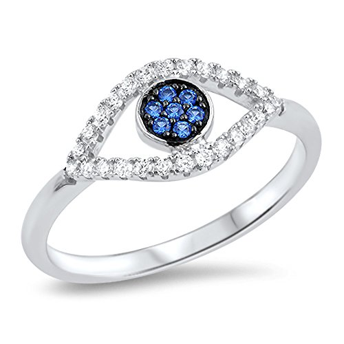 Evil Eye Blue Simulated Sapphire Micro Pave Ring .925 Sterling Silver Band Size 8