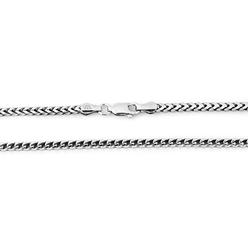 2.5 Mm Franco Chain (Sterling Silver 2.5 mm Comfort Franco Chain Necklace - 18