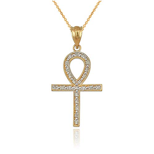 LA BLINGZ 14K Yellow Gold Diamond Ankh Cross Necklace ()