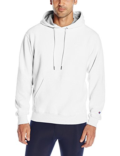 Champion Men's Powerblend Pullover Hoodie, White, Large