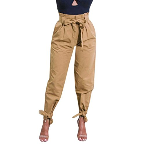 YKA-pants Womens Belted High Waist Trousers Losse Ladies Party Casual Bow Tie penci Pants (Khaki, L) - Belted Cargo Trousers