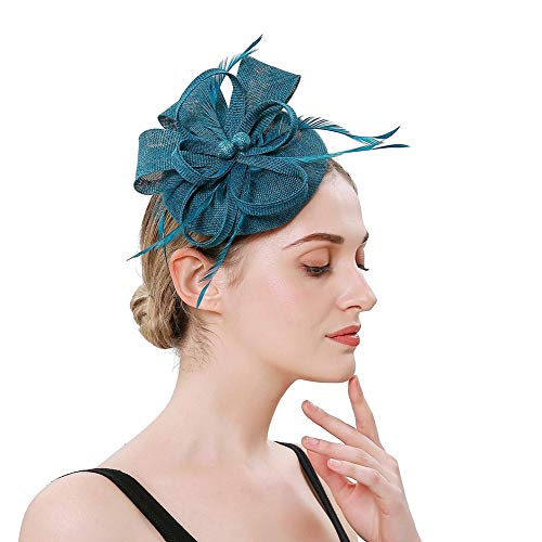 Ztl Feather Fascinators Pillbox Hat Cocktail Tea Party Headwear Kentucky Derby Headband Peacock Blue ()