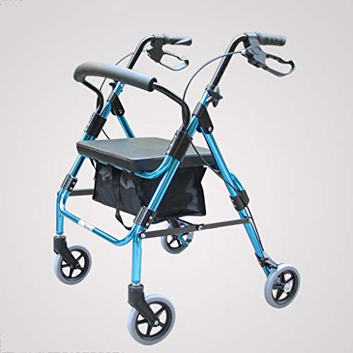 YHEGV Walker for The Elderly Walking Aid Folding Four-Leg Crutches Wheelchair Walker Blue Retractable Foldable to Meet Different Height (Size : A) ()
