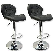 DREAM 2 Swivel Leatherette Adjustable Hydraulic Bar Stool, Set of 2 (Gray/Grey)