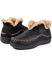 Men's Microsuede Fuzzy Warm Fleece Lining Moccasin Slippers Cozy Memory Foam Indoor Outdoor House Shoes