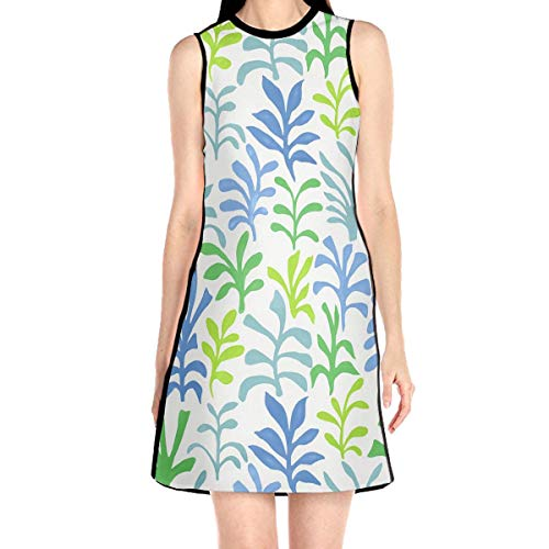 Laur Women¡¯s Sleeveless Scuba Sheath Dress Foliage Colorful Print Casual/Party/Wedding Dress L White