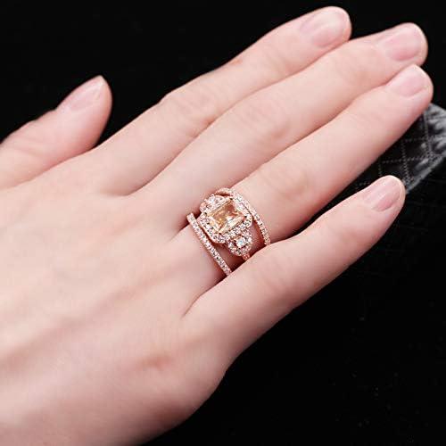 Y434 Uloveido 3pcs Rose Gold Plated Emerald Cut Orange AAA Cubic Zirconia 3-Stone Cross Engagement Wedding Rings Set Gift Size 6 7 8 9 10