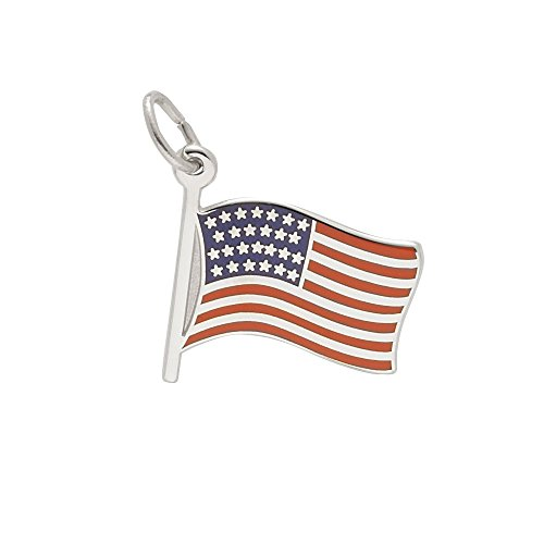 Rembrandt Charms, USA Flag, .925 Sterling Silver, Engravable (Rembrandt July Charm)