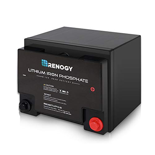 Renogy Lithium-Iron Phosphate Battery 12 Volt 50Ah for RV, Solar, Marine, and Off-grid Applications (Lithium Ion Battery Solar)